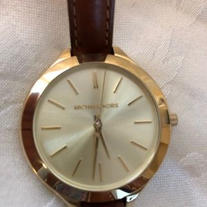 Authentic Michael Kors gold/brown leather watch